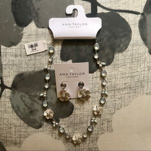 Ann Taylor - Floral Necklace & Earrings Set